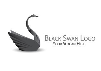 Black swan logo, bird logo, logo origami