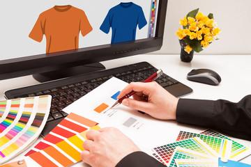 Designer at work. Color samples.