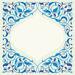 Islamic floral art in classic blue color (EPS10)