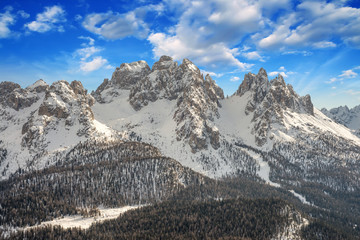 Dolomites, Italy. Beautiful scenario with Snow-Covered Mountains
