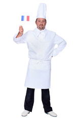chef holding French flag isolated on white