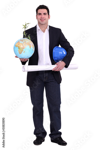 Architect with a plant growing out of a globe