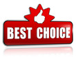best choice and thumb up sign in 3d red banner with star
