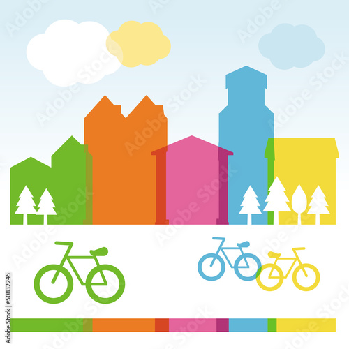 Vector design cocnept with modern buildings