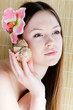 Beautiful lady face with flower & sea shell