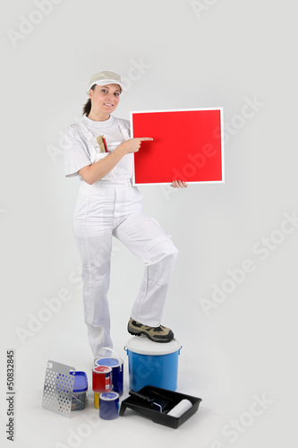 Painter with a blank board