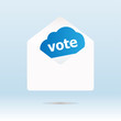 cover envelope with vote text on blue cloud