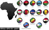 Glossy metal flag buttons, African countries, part 1