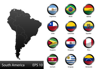 Glossy metal flag buttons, South American countries, part 1
