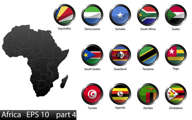 Glossy metal flag buttons, African countries, part 4