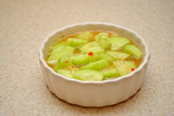 Marinated Cukes in a White Bowl