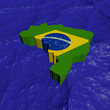Brazil map flag in abstract ocean illustration