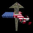American dollars arrow and Massachusetts map flag illustration