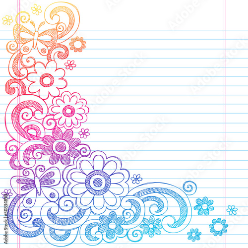 Flowers Sketchy Notebook Doodles Vector Illustration