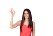 Brunette girl with a red dress saying Ok