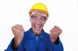 An ecstatic construction worker.