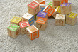random children's wooden blocks ready for learning