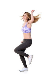 teen zumba workout with motion blur