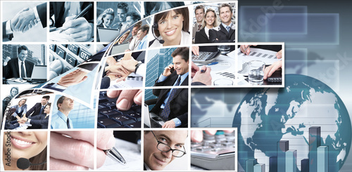 Business team collage background.