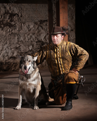 Serious Medieval Man with Dog