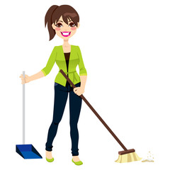 Woman Sweeping Floor