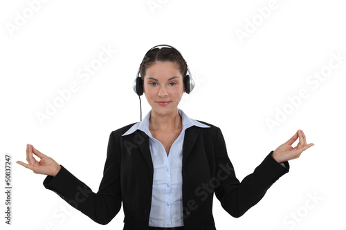Call-center worker in yoga position