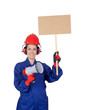 Industrial worker woman with a megaphone and a poster