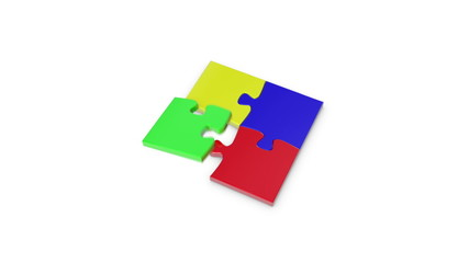 4 puzzle pieces tumbling together to complete the puzzle