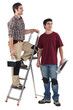 Two decorator stood with step-ladder