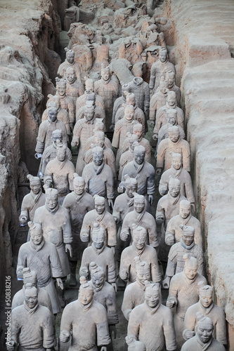 many terracotta warriors in the pit - 50838216