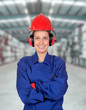 Happy woman industrial worker