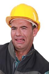 Terrified builder