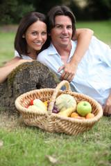 Couple having a picnic.