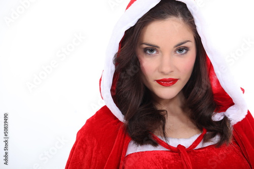 Gorgeous woman wearing Christmas dress