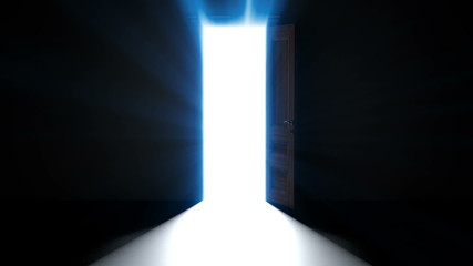 Doorway opening to bright heavenly light then going into it