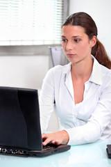 secretary with  computer