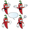 Collection of angry chili peppers with various gestures.