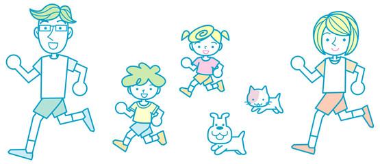 走る家族とペット