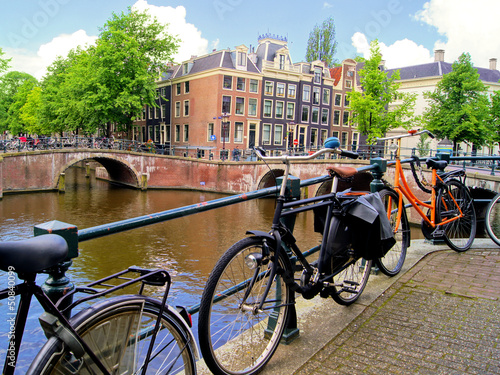 Amsterdam canal scence with bicycles and bridges