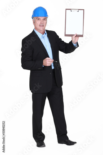 Inspector with a clipboard