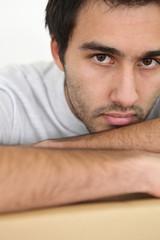 Closeup of a serious young man