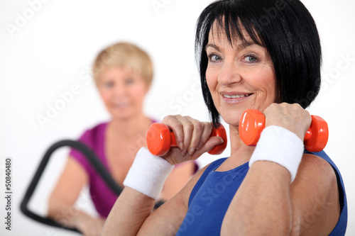Two women working out in the gym