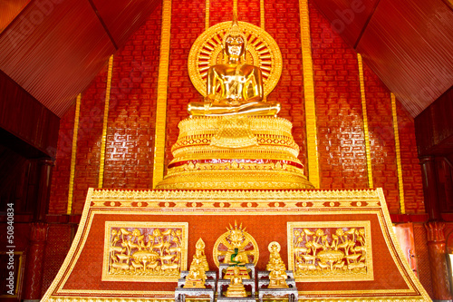 Gold buddha in thai temple