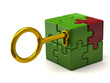Puzzle cube with golden key.