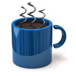 Coffee and blue cup concept