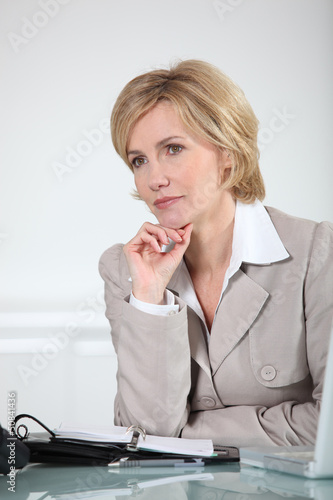 Businesswoman sat at desk with laptop computer and diary