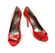 Python scales red peep toe stilettos