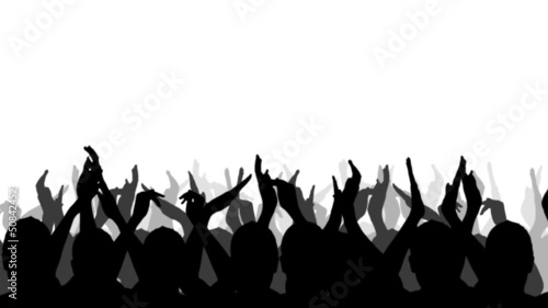 Cheering Crowd Silhouettes, isolated on a white background