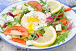 Vegetable salad with poached egg on a plate, closeup