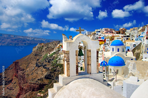 beautiful white blue Santorini